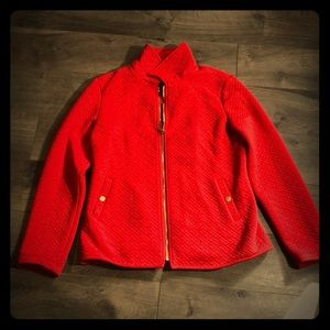 Warm red quilted jacket